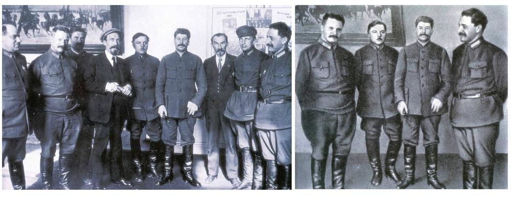 Этот групповой снимок, сделанный на 14-ой всесоюзной конференции в апреле 1925 года, – классический пример фотоманипуляций сталинских времён. Лишь один из товарищей, позировавших с вождём в этом кадре, умер своей смертью. Этот же снимок публиковался в биографии Сталина, которая выходила в 1939 и 1949 годах. В отретушированной версии группа сократилась до четырёх человек, остальных стёрли из истории.