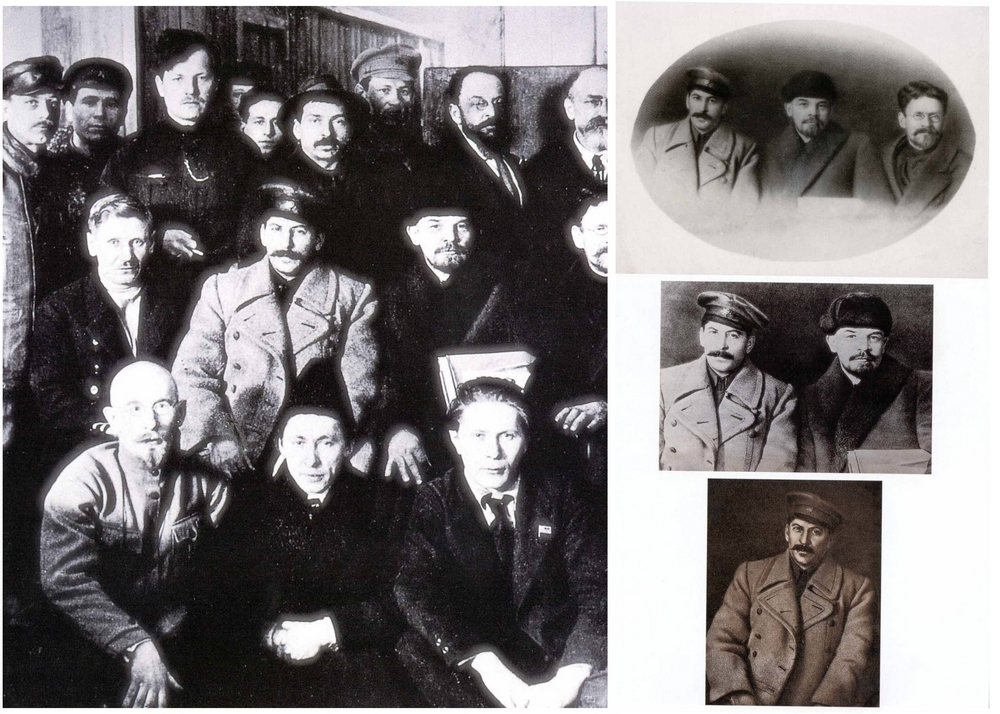 Делегаты 8-го съезда РКП(б) в марте 1919 года. Из 20 делегатов одиннадцать были убиты по распоряжению Сталина, ещё трое покончили жизнь самоубийством, протестуя против его политики. В самой известной отретушированной версии этого снимка присутствуют лишь Ленин, Сталин и Калинин. Иногда Калинина «убирали». Наконец, в 1938 году опубликовали альбом «Первая кавалерия», где лишним оказался даже Ленин.