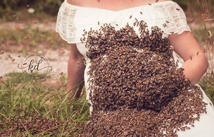 Рой из 20 000 пчел участвует в фотосессии Эмили.