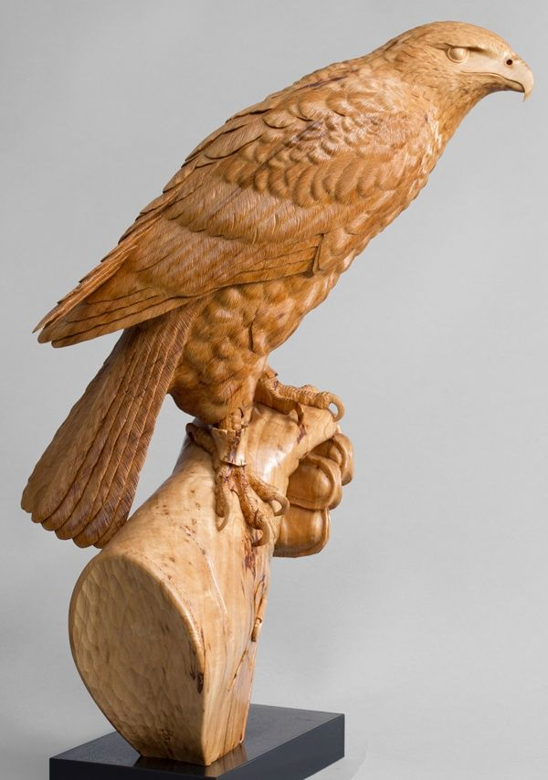 'Harris`s Hawk on Glove. Original wood sculpture' by