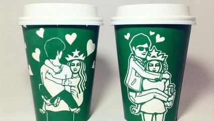 Южнокорейский иллюстратор Су Мин Ким создает потрясающие рисунки на чашках Starbucks