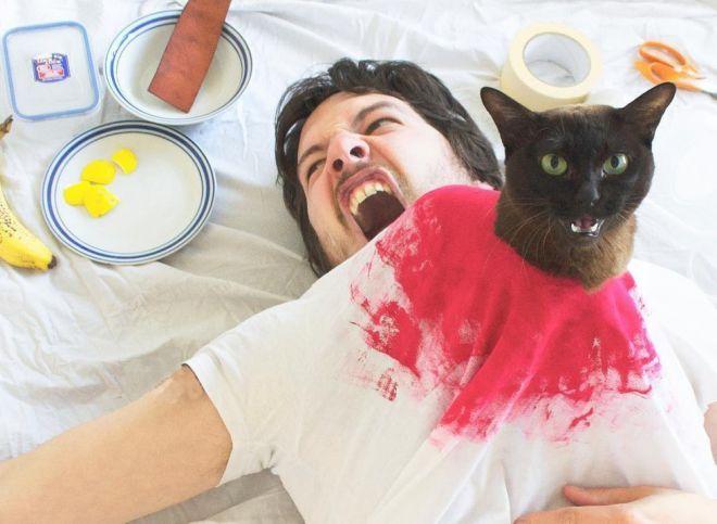 Фотографии на Оскар: парень со своей кошкой воссоздает сцены из фильмов
