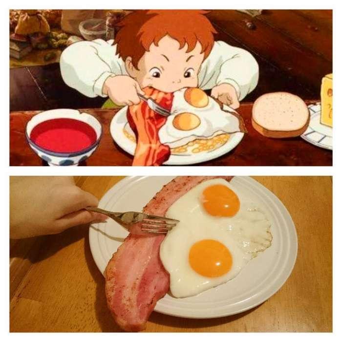 Девушка готовит еду прямо из аниме мультиков