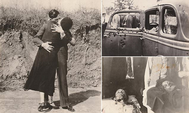 PICS BY PHOTOGRAPHS DO NOT BEND GALLERY / CATERS NEWS - (PICTURED: -- MANDATORY PICTURE BYLINE: PHOTOGRAPHS DO NOT BEND GALLERY / CATERS NEWS -- Loved up shot of Bonnie and Clyde, believed by new owner Thomas Yurkin, to be a photo from an undeveloped film they were unable to develop while away due to officers finding out they were in the vicinity) - The final moments of loved-up looters Bonnie and Clyde have been revealed in never seen before photographs. Photographs Do Not Bend -PDNB- Gallery, in Dallas, Texas, USA, exhibited the gruesome end for the notorious criminals, snippets of their love story and their apprehension. Bonnie and Clyde began their two-year crime spree in 1932, ruthlessly robbing banks and small businesses and killing anyone who got in their way. The public were enamoured by the lovestruck pair, real names Bonnie Elizabeth Parker and Clyde Chestnut Barrow, during the Public Enemies era during the great depression in America. After evading the cops countless times, their luck ran out in 1934 when on High 54 in Louisiana, they were ambushed by officers who fired 107 rounds of bullets in less than two minutes. But their infamy and legend live on to this day in the unseen images that document the end for Bonnie and Clyde, who died aged 24 and 23, along with other memorable moments. - SEE CATERS COPY