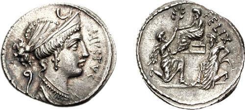 Монета с изображением передачи Югурты Бокхом Сулле