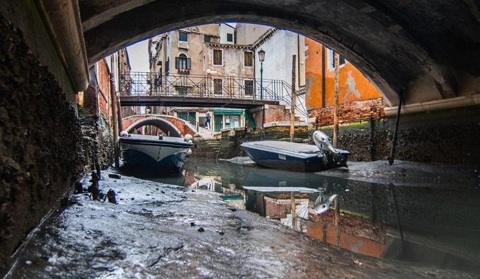 В Венеции каналы остались без воды, все лодки увязли в грязном иле