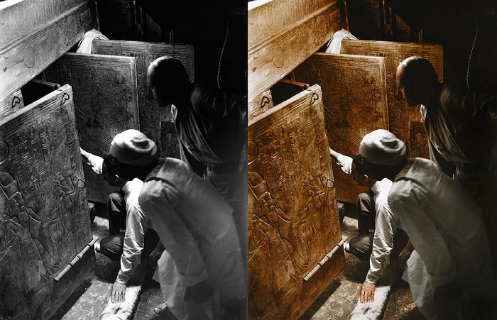 Черно-белые кадры с места археологических действий, ставшие цветными