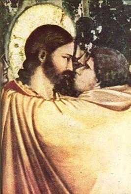 «Поцелуй Иуды», фрагмент фрески Джотто ди Бондоне (XIV век)