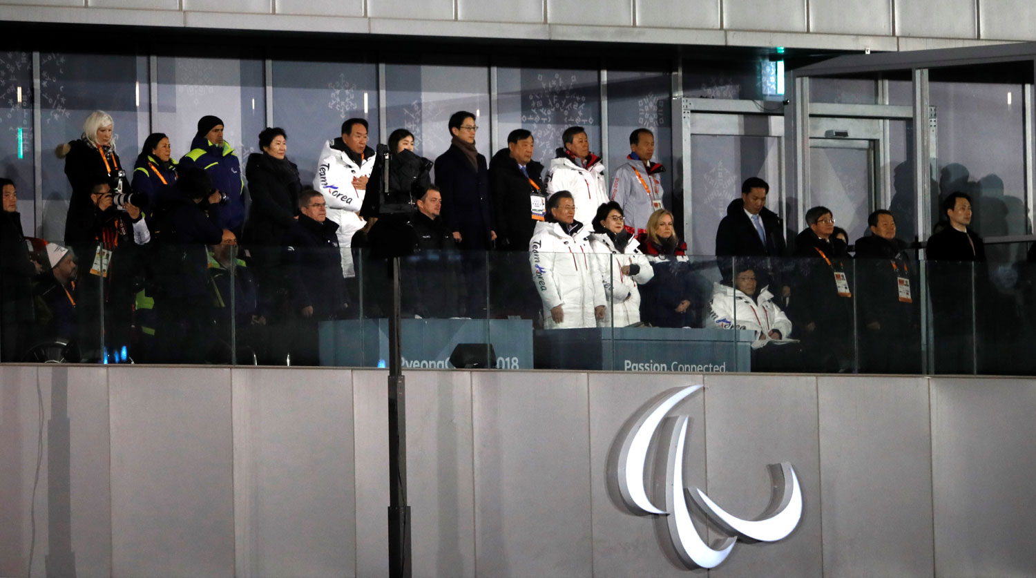 Pyeongchang 2018 Winter Paralympics - Opening ceremony - Pyeongchang Olympic Stadium - Pyeongchang, South Korea - March 9, 2018 - South Korean President Moon Jae-in and IOC President Thomas Bach attend the opening ceremony. REUTERS/Carl Recine - RC1B89B0CA20