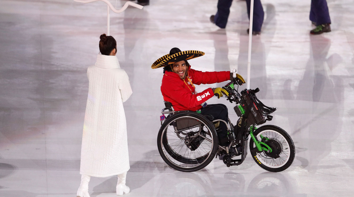 Pyeongchang 2018 Winter Paralympics - Opening ceremony - Pyeongchang Olympic Stadium - Pyeongchang, South Korea - March 9, 2018 - Arly Aristides Velasquez Penaloza of Mexico carries the national flag during the opening ceremony. REUTERS/Paul Hanna - RC17F3AC04B0