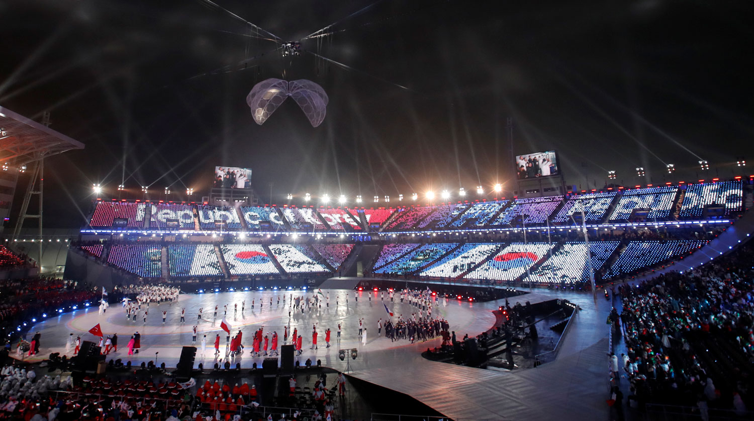 Pyeongchang 2018 Winter Paralympics - Opening ceremony - Pyeongchang Olympic Stadium - Pyeongchang, South Korea - March 9, 2018 - The delegation of South Korea enters the stadium during the opening ceremony. REUTERS/Carl Recine - RC1B645C0650