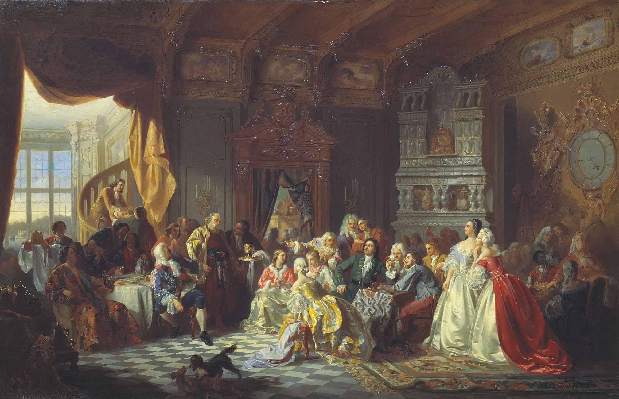 Хлебовский Станислав (Stanisław Chlebowski), «Ассамблея при Петре I», 1858