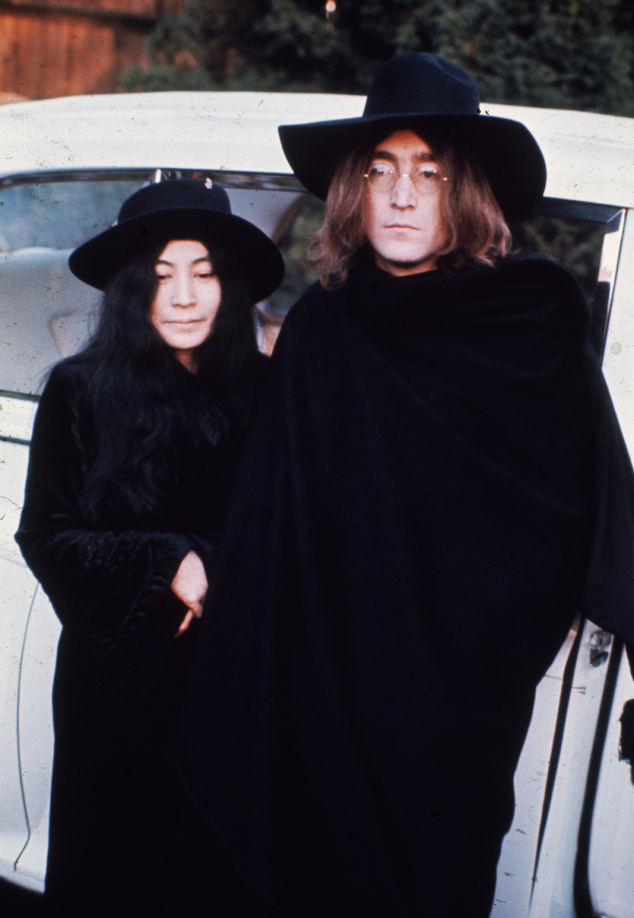 1969:  John Lennon  (1940 - 1980) and Yoko Ono pictured during filming of the promotional film for 'The Ballad of John and Yoko'.  (Photo by Fox Photos/Getty Images)