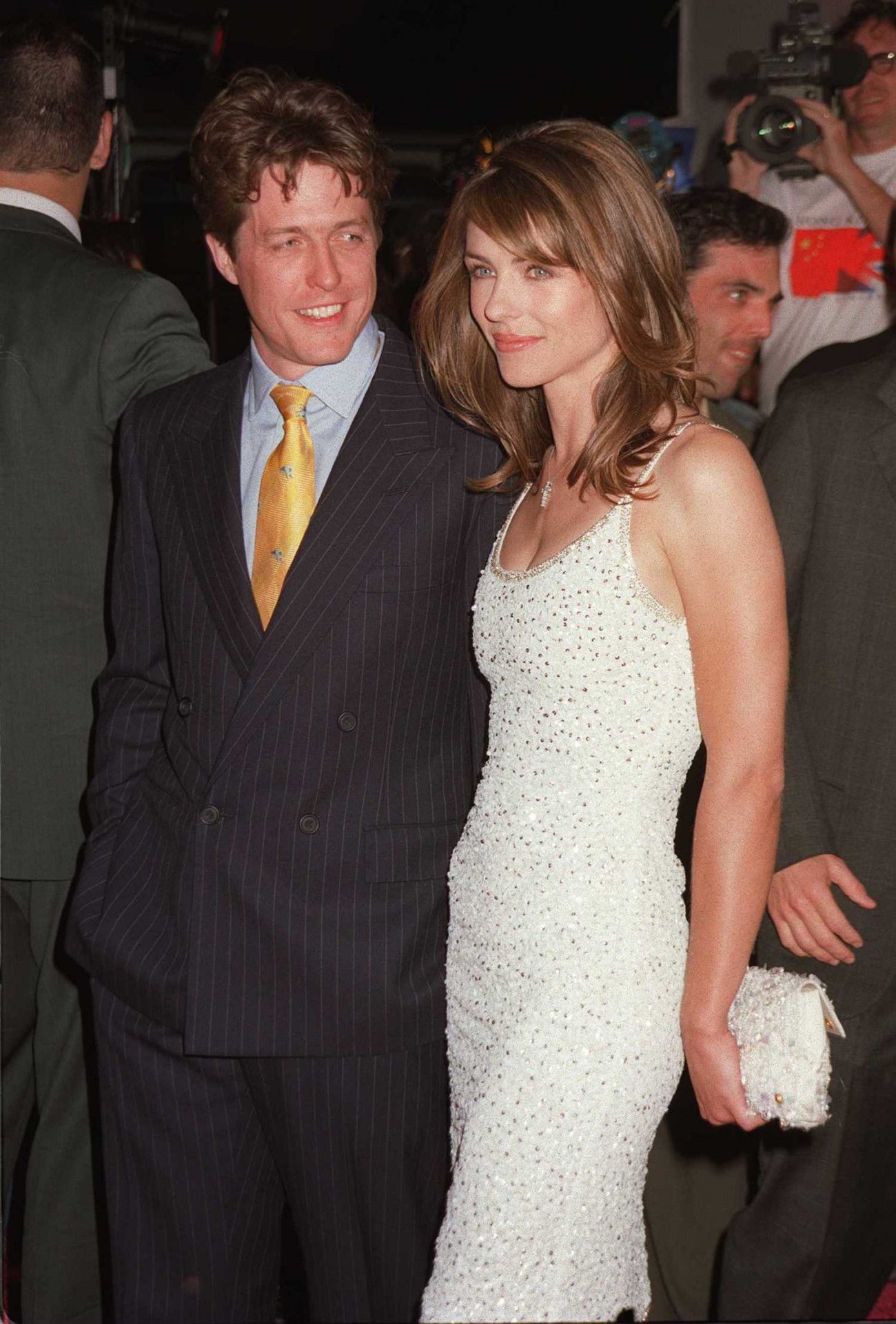 "4/28/97 Hollywood, CA Liz Hurley and Hugh Grant at the premiere of the movie ""Austin Powers"""