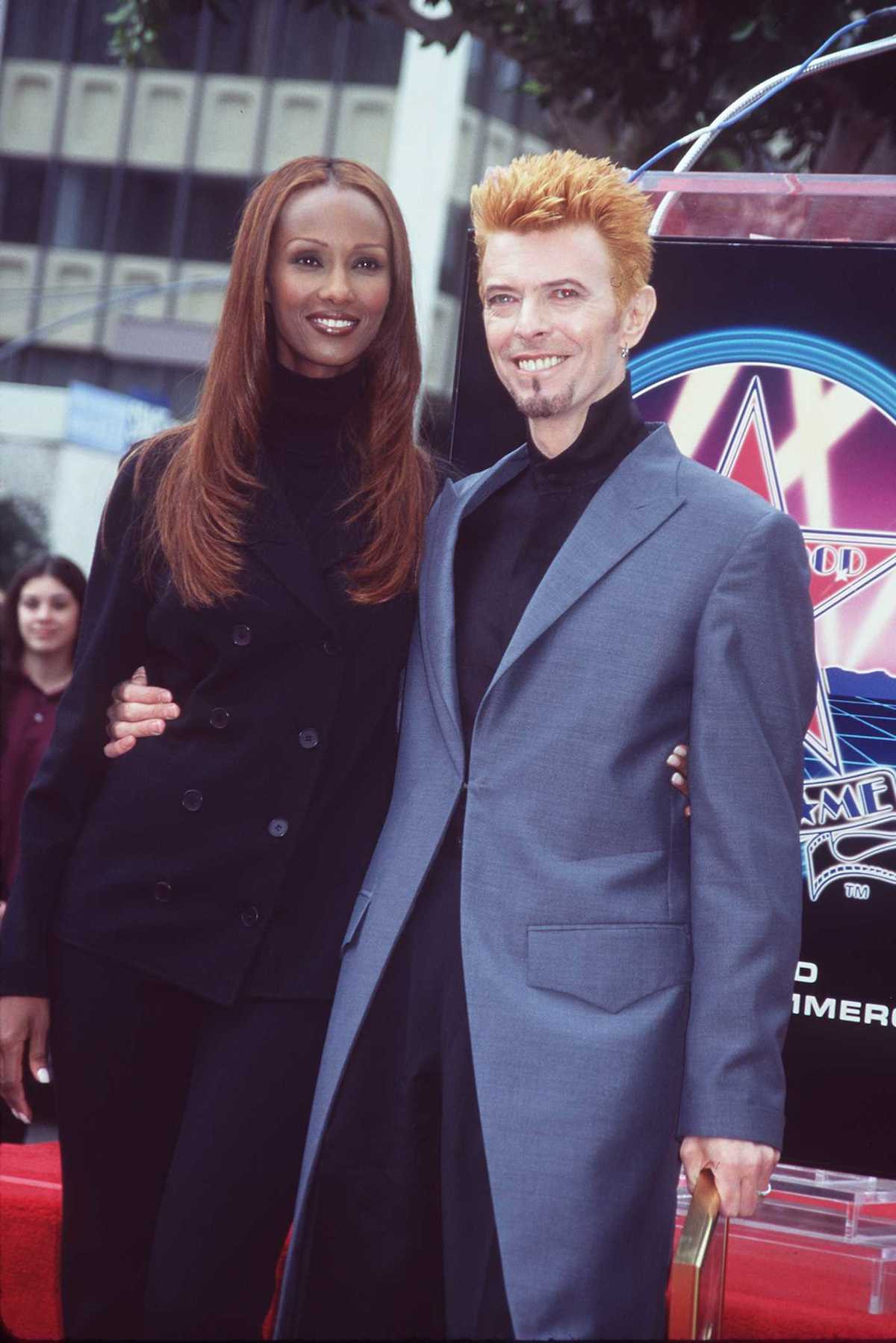 376076 01: 2/12/97 Hollywood, Ca David Bowie with wife Iman Receives his star on the Hollywood Walk of Fame. (Photo by Online USA, Inc.)