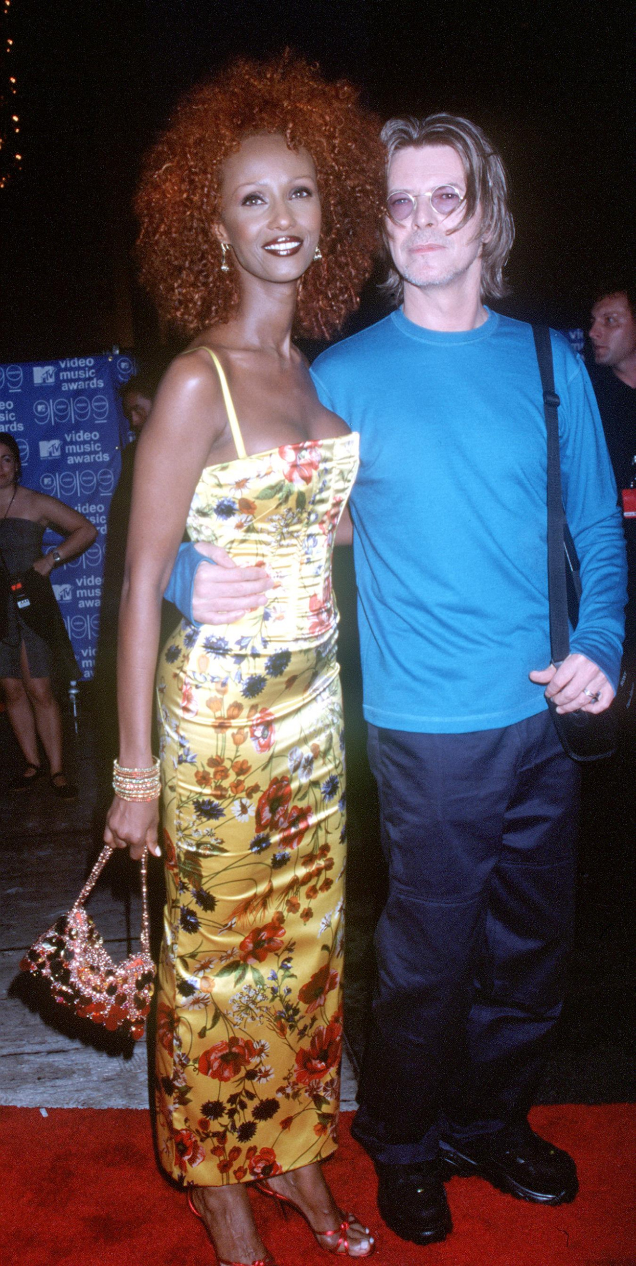 9/9/99 New York, NY. David Bowie with his wife, Iman at the MTV Video Music Awards. Photo by Brenda Chase/Online USA, Inc.