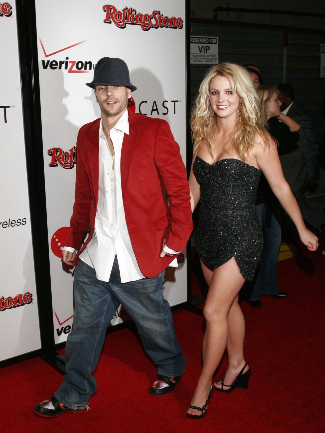 HOLLYWOOD - FEBRUARY 06:  Musicians Britney Spears and Kevin Federline arrive at the 2006 Grammy Nominees party with Kanye West, hosted By Verizon Wireless and Rolling Stone Magazine at the Avalon Hollywood, on February 6, 2005 in Hollywood, California.  (Photo by Matthew Simmons/Getty Images for Rolling Stone)