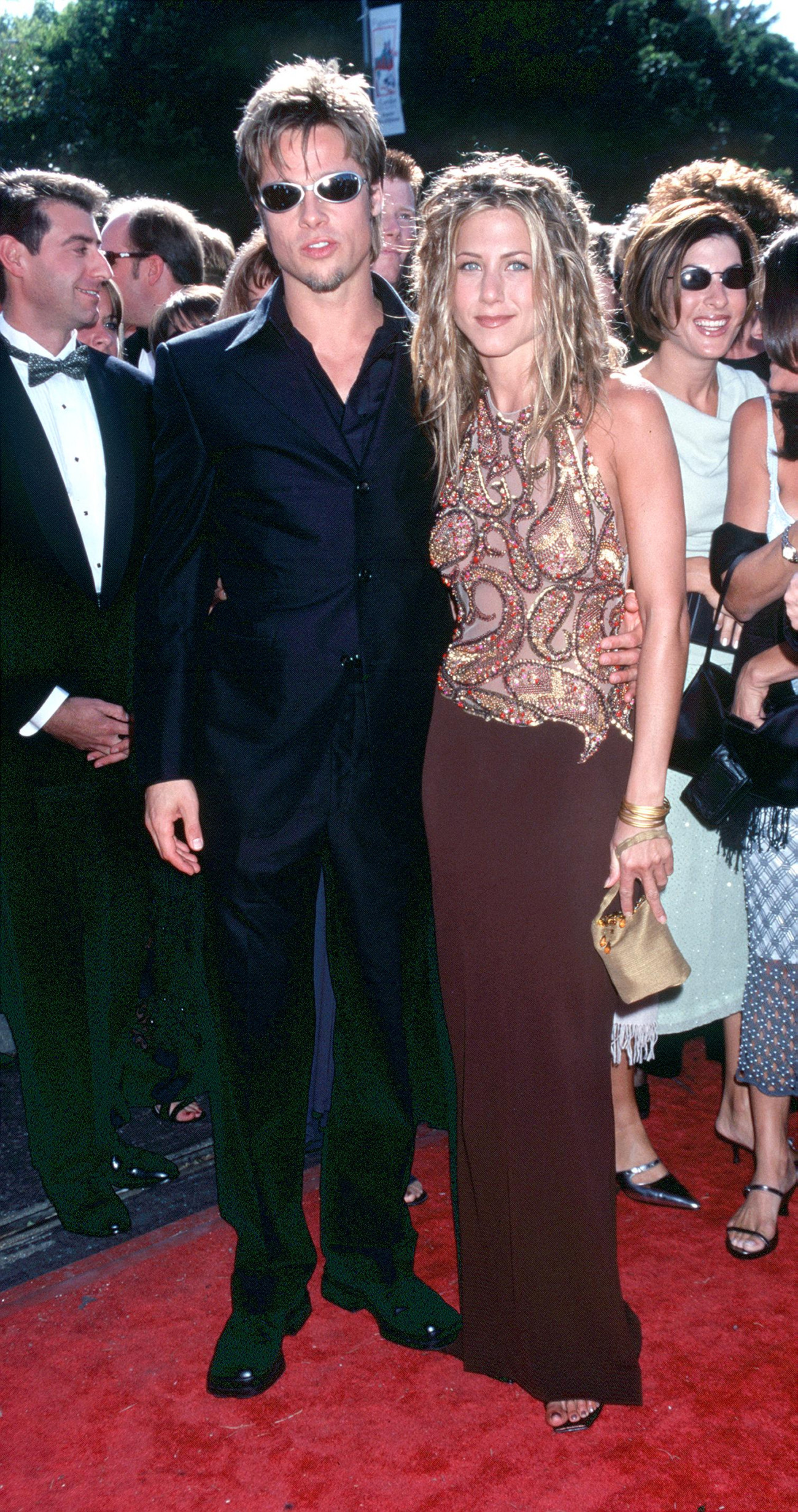 9/12/99 Los Angeles, CA. Brad Pitt and Jennifer Aniston at the 51st Annual primetime Emmy Awards . Photo by Brenda Chase/Online USA, Inc.