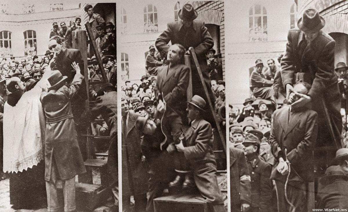 Премьер министр Венгрии, Ференц Салаши перед повешением за пособничество нацистам, 1946 г.