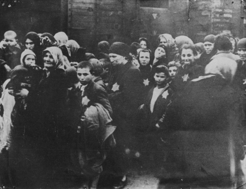 Венгерские евреи у поезда после прибытия в концлагерь Освенцим