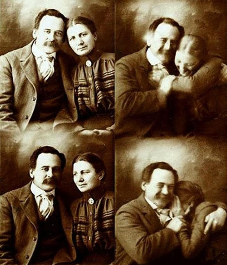 Пара викторианской эпохи еле сдерживается от смеха в фотоателье. 1890-е годы