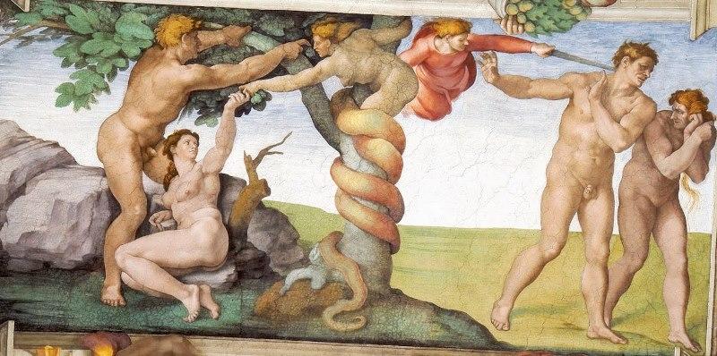 Грехопадение и изгнание из рая. Картина фреска Микеланджело Буонарроти. Сикстинская капелла
