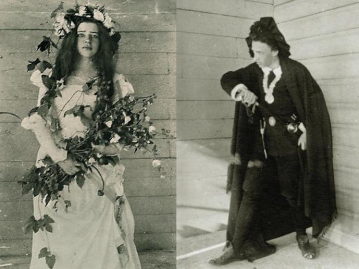 Л. Менделеева в роли Офелии и А. Блок в роли Гамлета в домашнем спектакле