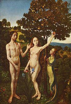 Искушение Адама и Евы (Хуго ван дер Гус, ок. 1480 года)
