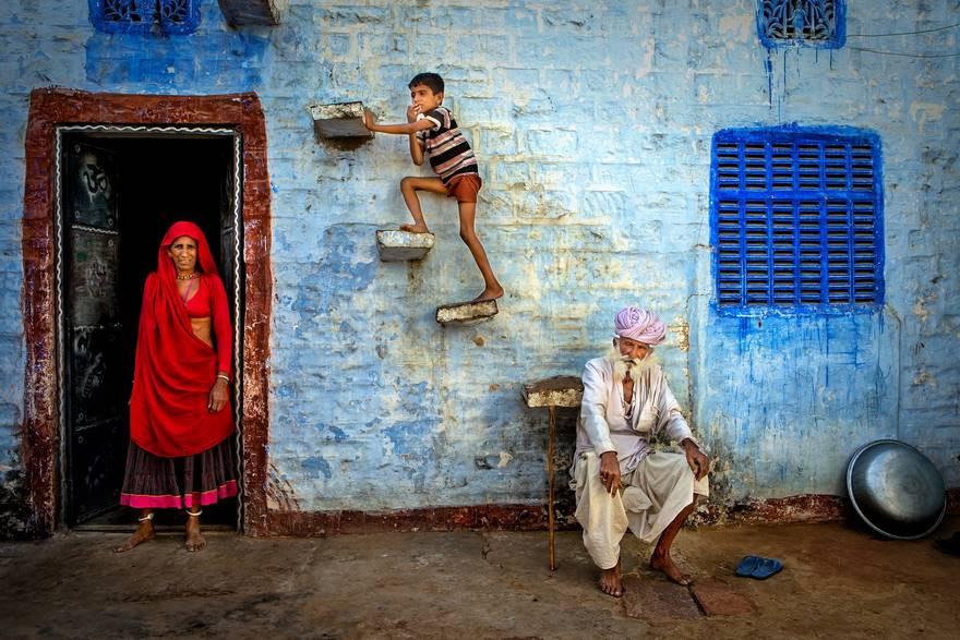 Семья в городе Джодхпуре, Раджастан