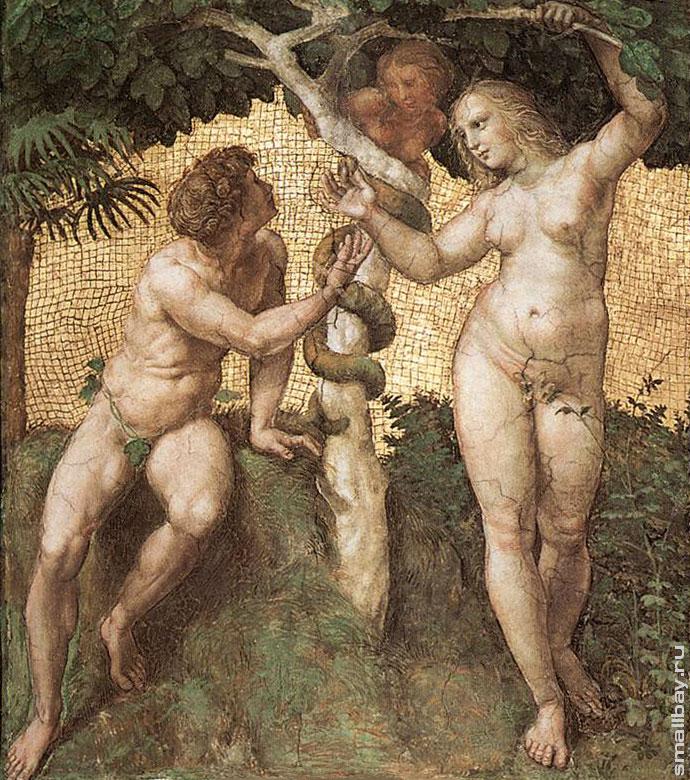 690 × 780Изображения могут быть защищены авторским правом. Адам и Ева Фреска Рафаэля Санти