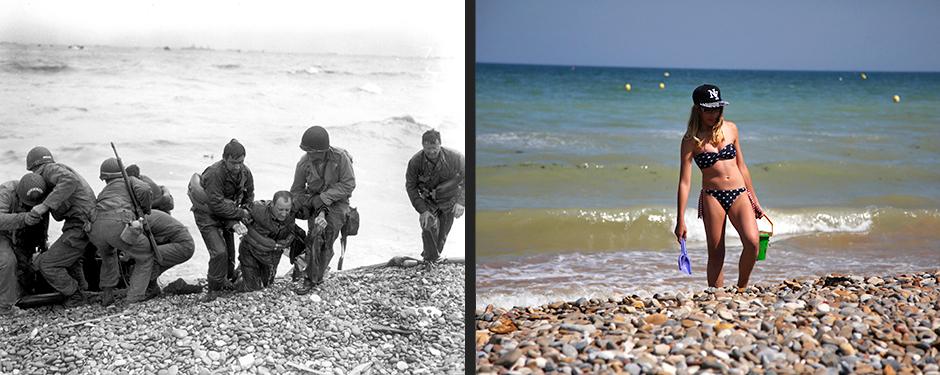 """Американцы вытаскивают из воды своих солдат с потопленного немцами корабля, пляж """"Омаха"""", Франция, 6 июня 1944 года (слева)/Девушка на пляже """"Омаха"""", Франция, 22 августа 2013 года (справа)"""