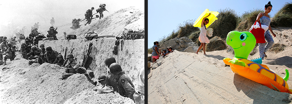 Операция с участием американских солдат, Ла-Мадлен, 6 июня 1944 года (слева)/Туристы идут на пляж, Ла-Мадлен, 21 августа 2013 года