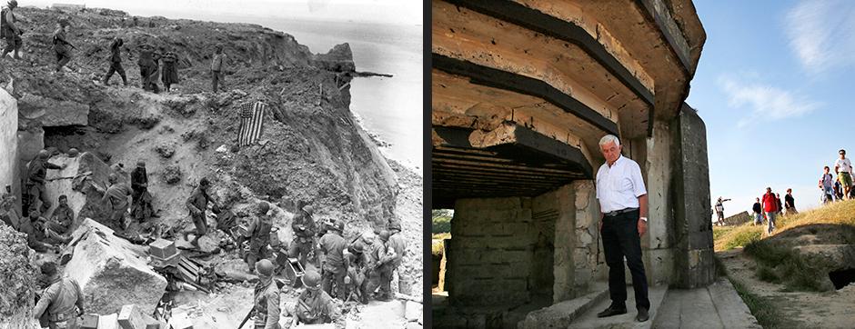 Американцы около разрушенного бункера, Пуанте-дю-Хок, 8 июня 1944 года (слева)/Итальянский турист около восстановленного бункера, Пуанте-дю-Хок, 22 августа 2013 года (справа)