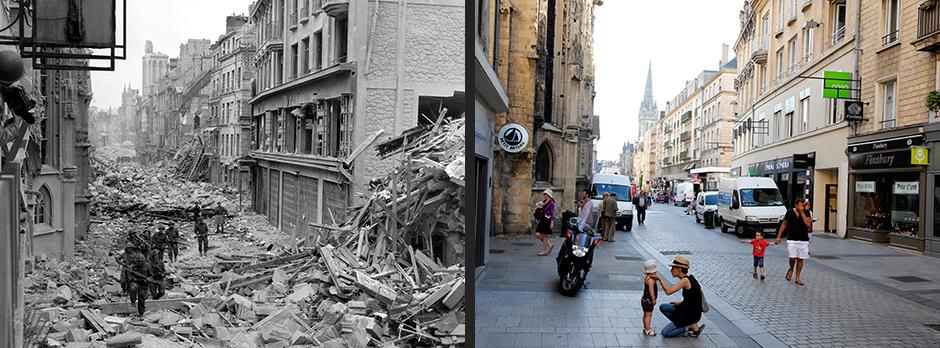 Улица Saint-Pierre после германского авианалета, Кан, июль 1944 года (слева)/Восстановленная улица Saint-Pierre, Кан, август 2013 года (справа)