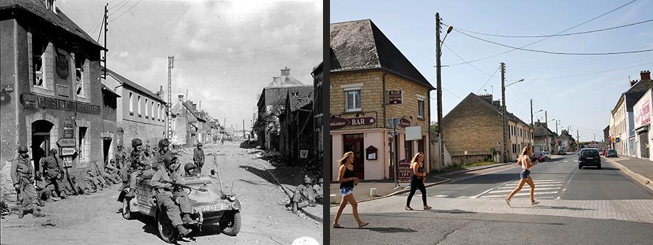 Американские десантники на улице Holgate, Карантан, июнь 1944 года (слева)/Девушки переходят улицу Holgate, Карантан, июнь 2013 года (справа)