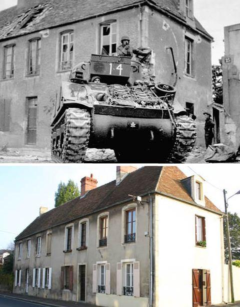 Изображения включают такие места, как Bernieres-sur-Mer, где канадско-французский пехотный полк высадился на берег в рамках операции Overlord , и Кан, где тяжелые бои уничтожили большую часть города. Потребовалось 14 лет, чтобы восстановить Кан после ущерба, причиненного войной