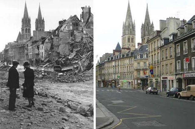 Когда союзные войска высадились на берег в Нормандии Франции 6 июня 1944 года, они освободили французских граждан от оккупации Германией - но битва не обошлась без серьезных потерь, исчисляемых как человеческими жизнями, так и ущербом, причиненным зданиям. Величина разрушения потрясает, целые улицы превратились в гигантские груды кирпичей