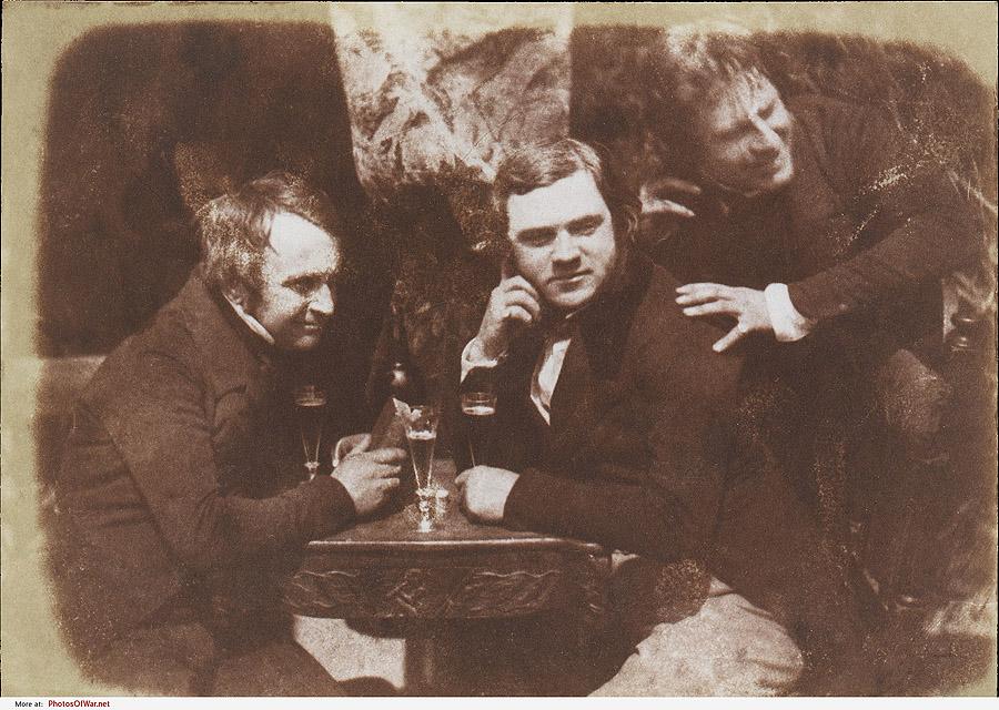 Самая первая из известных фотографий, на которых человек пьёт пиво, эдинбургский эль, 1844 года