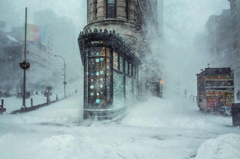 Рекордный снегопад в Нью-Йорке. Первое место в категории «Архитектура: Городские пейзажи».