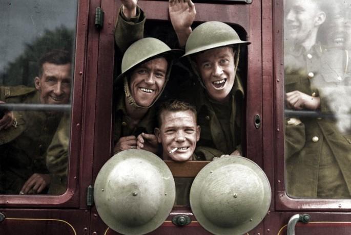 Британские солдаты возвращаются с фронта. 1939 год