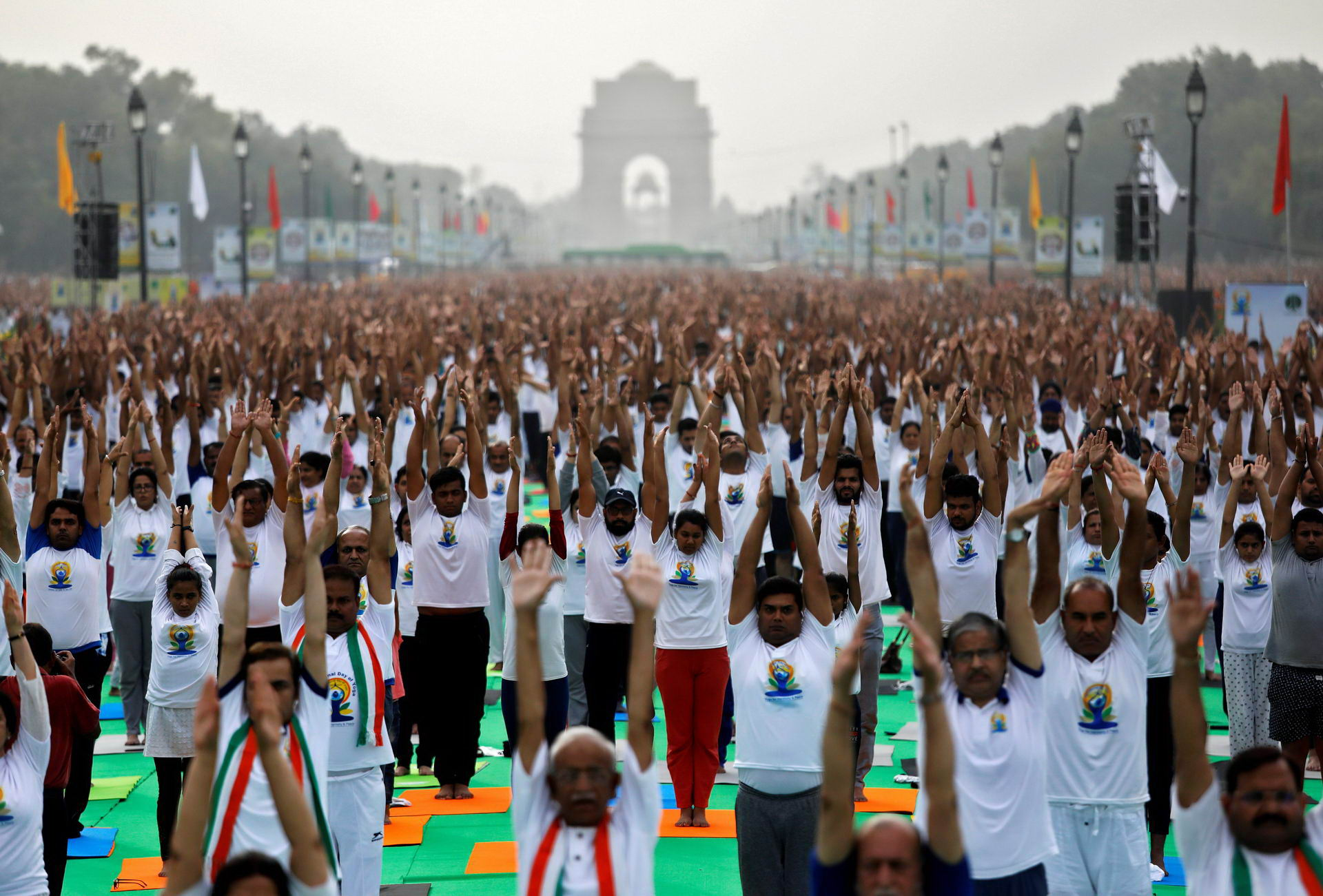 People perform yoga at India Gate on International Yoga Day in New Delhi