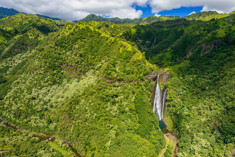 View of Manawaiopuna Falls (as seen in Jurassic Park) from a helicopter over Kauai, Hawaii. See more photos from Kauai and order prints at jasonwaltman.com. Read my tips on shooting from a helicopter on my blog.