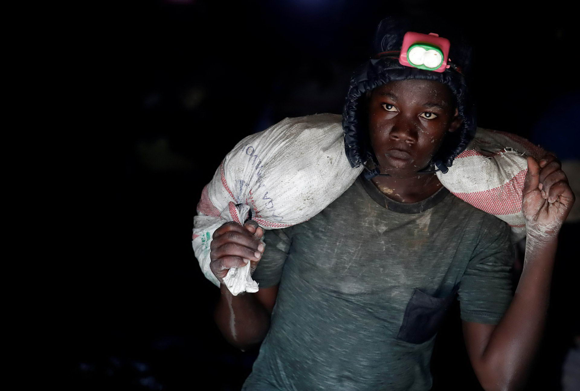 A young gold miner works in Makala gold mine camp near the town of Mongbwalu in Ituri province