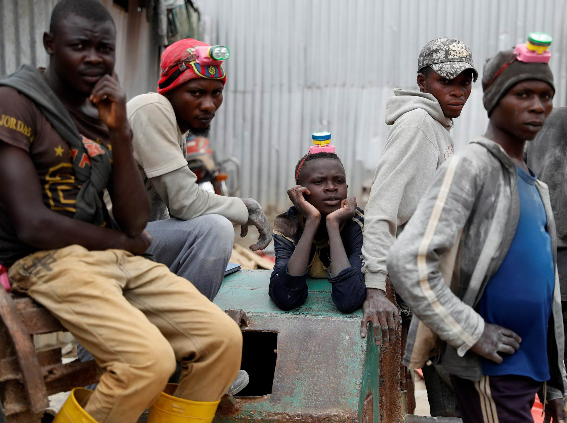 Miners rest at Makala gold mine camp near the town of Mongbwalu in Ituri province