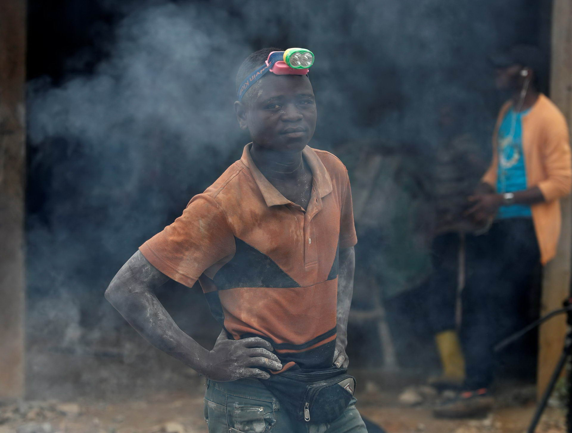 A miner stands at Makala gold mine camp near town of Mongbwalu