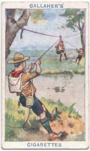 Как перебраться через реку Как перебраться через реку «Закрепите прочную веревку на дереве и отправьте товарища переплыть реку, чтобы закрепить другой конец веревки на дереве противоположного берега. Сделайте стул, закрепите его на спущенной петле и полиспасте, и при помощи легкой веревки, прикрепленной к середине стула, и с каждой стороны удерживаемой скаутами,  вы сможете переправить людей, которые не умеют плавать, на противоположный берег».