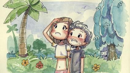 Художник создал рисунки о встрече с любимой после долгой разлуки