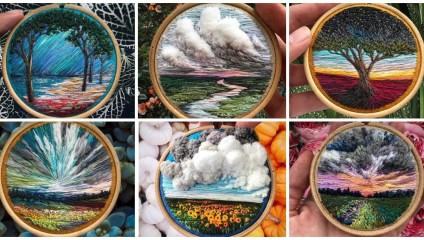 Картины нитками художницы из Санкт-Петербурга