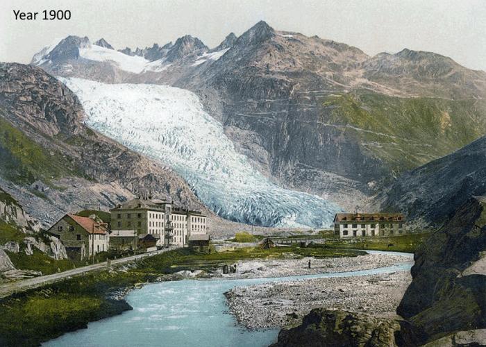 Катаклизмы природы_ Тающий ледник в швейцарских Альпах стал причиной закрытия старинного отеля (1)