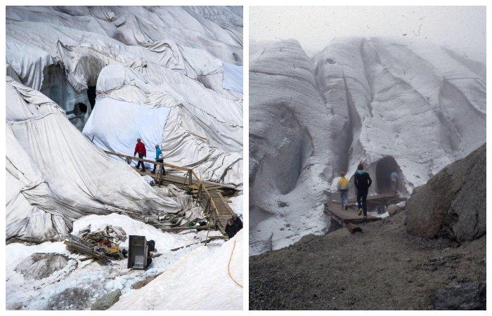 Катаклизмы природы_ Тающий ледник в швейцарских Альпах стал причиной закрытия старинного отеля (8)